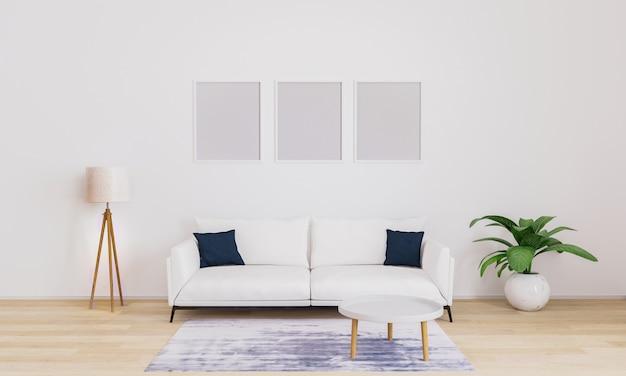벽에 세 개의 빈 사진 프레임입니다. 사진을 삽입하십시오. 거실의 현대적인 인테리어 프리미엄 사진