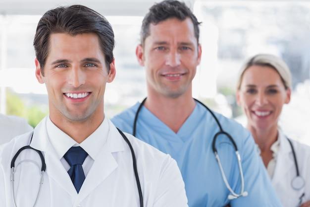 Three cheerful doctors Premium Photo