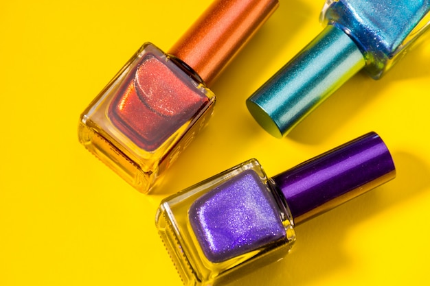 Three different types of painted nails Premium Photo