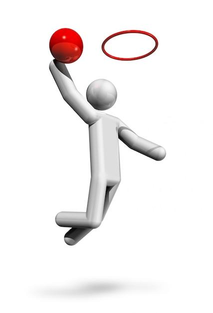 Three dimensional basketball symbol, olympic sports series Premium Photo