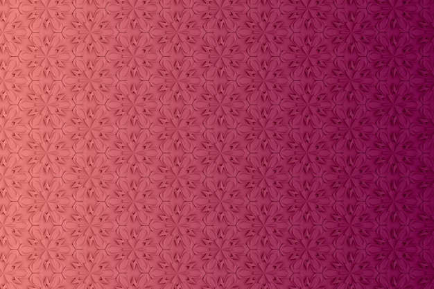 Three-dimensional geometry pattern with six-pointed flowers Premium Photo