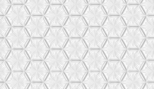 Three-dimensional light geometry pattern with six-pointed flowers Premium Photo