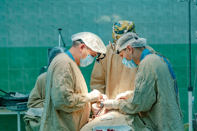 Three doctors conduct a patient operation with the participation of a nurse in the operating room Premium Photo