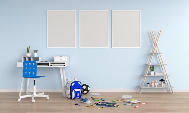 Three empty blank photo frame in child room Premium Photo
