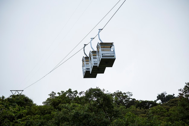 Three empty cable car over rainforest at costa rica Free Photo