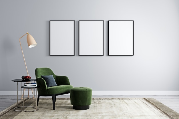 Three empty frames with armchair with modern coffee table with decoration in bright room for mockup. living room with 3 empty frames for mockup. 3d rendering Premium Photo