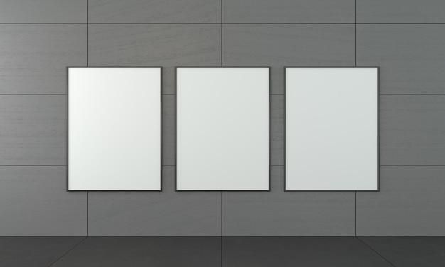 Three empty paintings in the framework Premium Photo