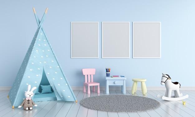 Three empty photo frame for mockup in childern room Premium Photo
