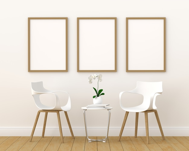 Three empty photo frame for mockup in modern living room, 3d render, 3d illustration Premium Photo
