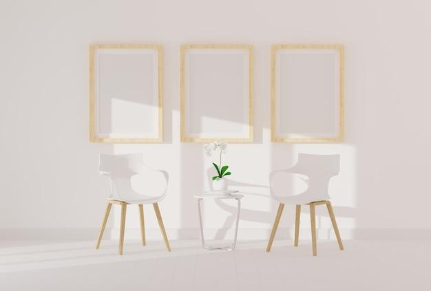 Three empty photo frame for mockup in modern living room Premium Photo