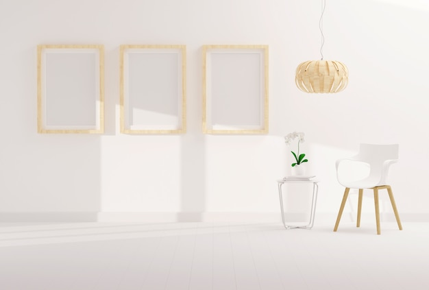 Three empty photo frame for mockup in modern living room Premium Photo