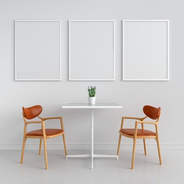 Three empty photo frame for mockup on wall Premium Photo