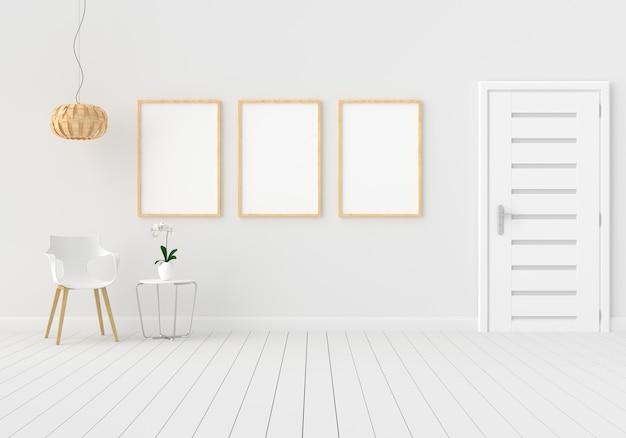 Three empty photo frame for mockup in white room Premium Photo