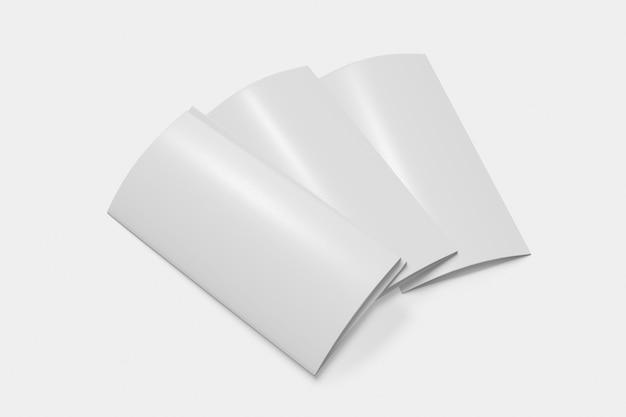 세 배 책자 흰색 배경에 폐쇄 프리미엄 사진