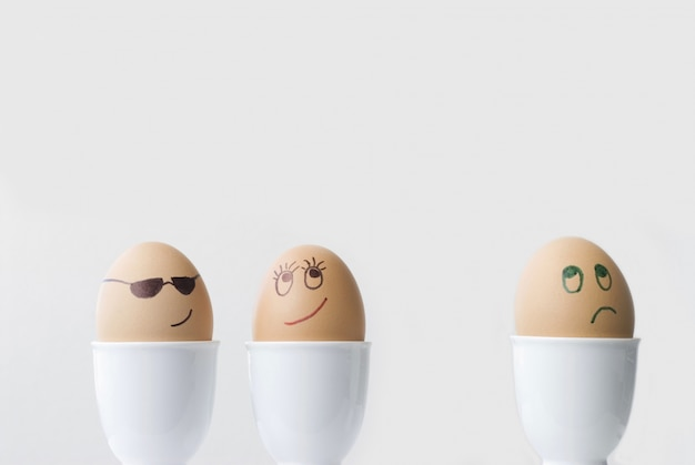 Three funny eggs Free Photo