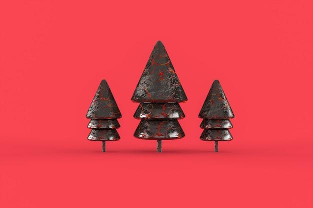 Three galss christmas tree  minimalist wallpaper .  merry christmas concept Premium Photo