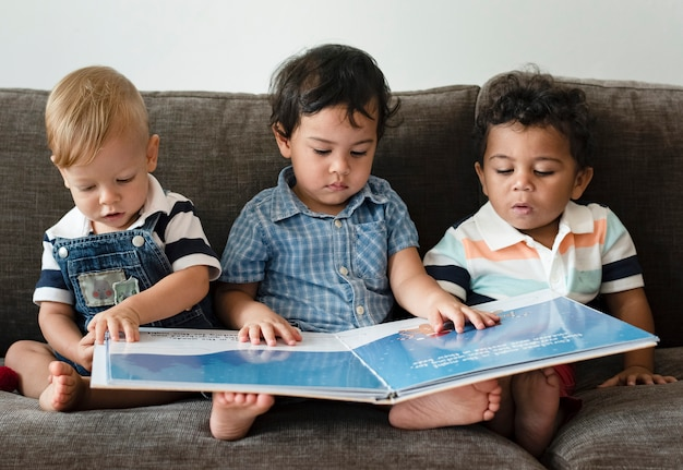 Three little boys reading a book on a sofa Premium Photo