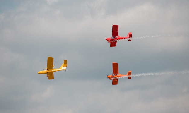 Three multicolored aircraft Premium Photo