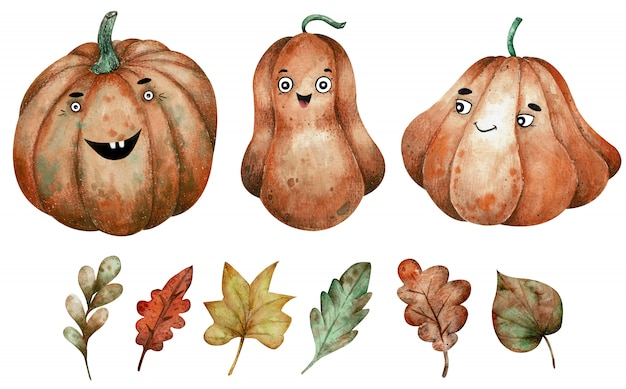 Three orange watercolor pumpkins and autumn leaves clipart. hand-drawn halloween illustration. Premium Photo