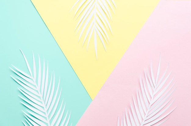 Three paper palm leaves on table Free Photo