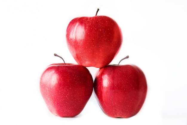 Three red apples on white background. isolated on white. healthy ...