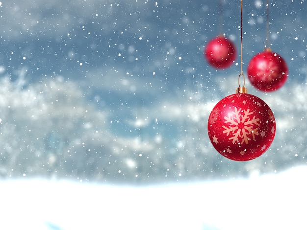 Three red christmas balls Free Photo