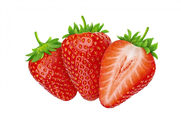 Three strawberries isolated on white background with clipping path Premium Photo