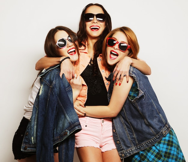 Three stylish sexy hipster girls best friends Premium Photo