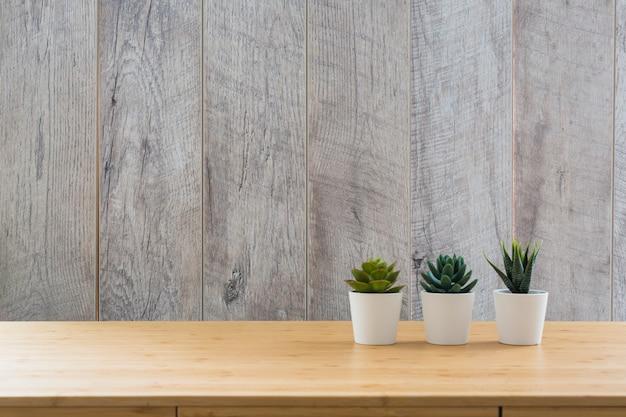 나무 벽에 책상에 흰색 냄비에 세 다육 식물 작은 식물 프리미엄 사진