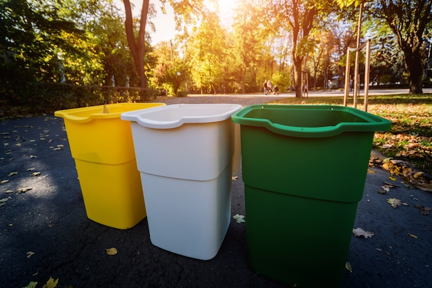 Three trash containers in different color Premium Photo