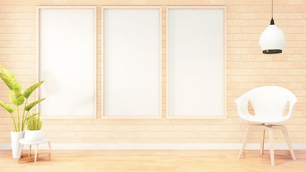 Three vertical photo frame for artwork, white chair on loft room interior design, orange brick wall design. 3d rendering Premium Photo