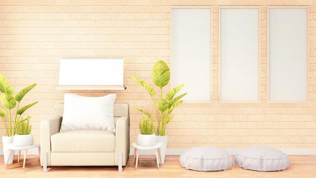 Three vertical photo frame for artwork, white pouf on loft room interior design, orange brick wall design. 3d rendering Premium Photo