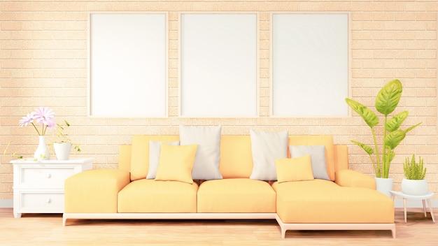 Three vertical photo frame for artwork, yellow sofa on loft room interior design, brick wall design. 3d rendering Premium Photo