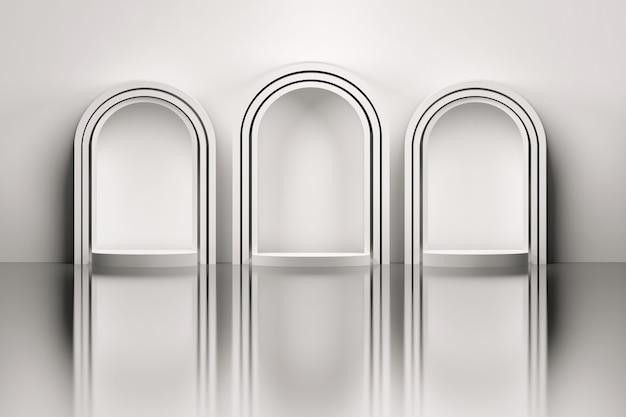 Three White Arches Over Mirror Floor