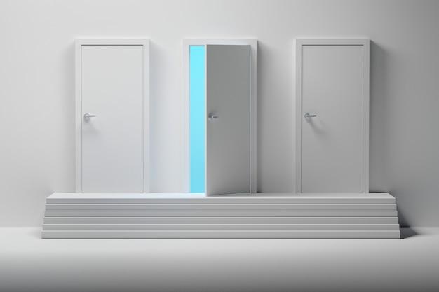 3つの白いドアと1つの階段の上のドアを開けた Premium写真