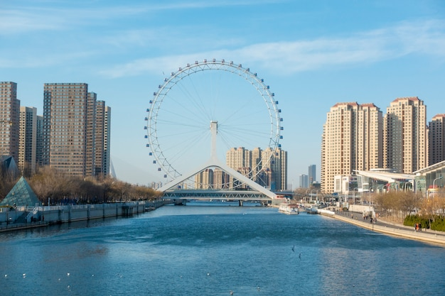 Tianjin eye  in tianjin , china Premium Photo