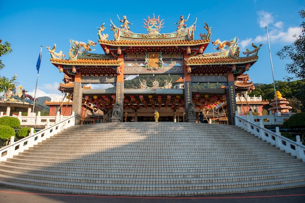 Tianyuan temple with blue sky, the most famous place for tourist  in taiwan Premium Photo
