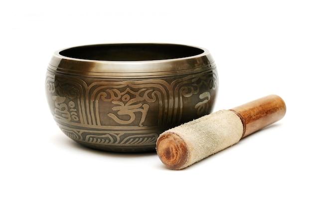Tibetian singing bowl isolated Premium Photo