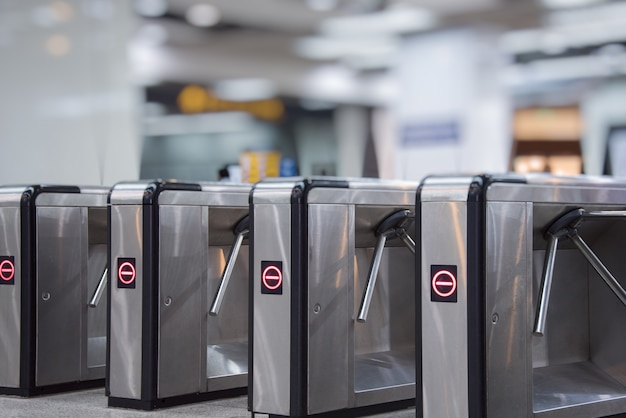 Ticket barriers at subway entrance Free Photo