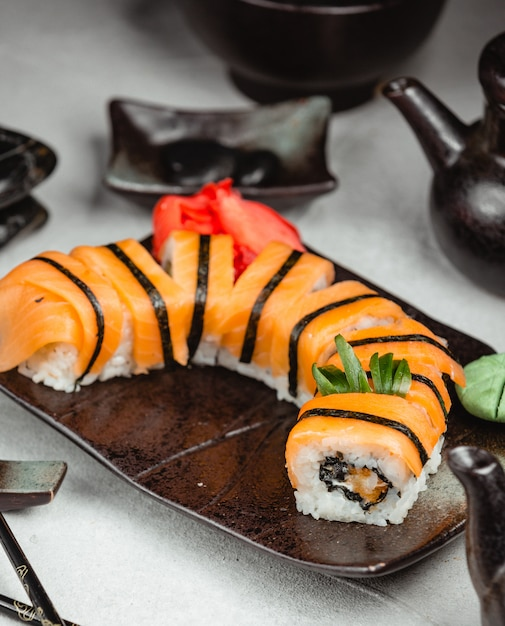 Tiger sushi with ginger and wasabi Free Photo