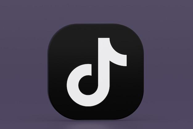 3d-рендеринг логотипа приложения tiktok на фиолетовом фоне Premium Фотографии