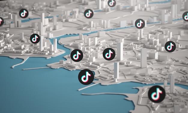 Tiktok icon over aerial view of city buildings 3d rendering Premium Photo