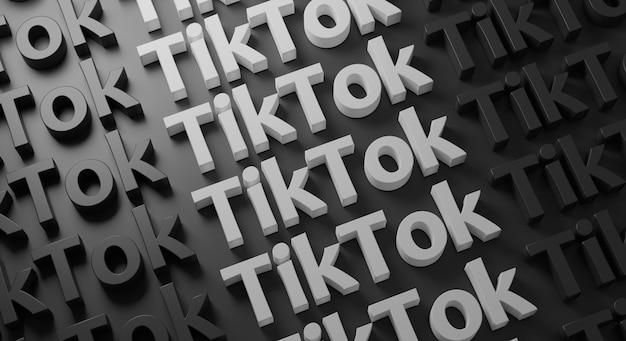 Tiktok multiple typography on dark wall, 3d rendering Premium Photo