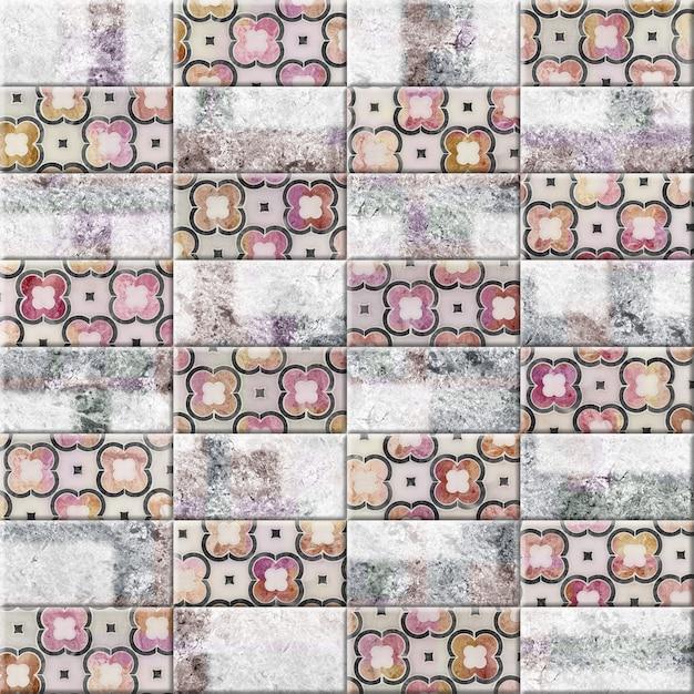 Плитка с узорами и фактурой натурального камня. декоративный элемент для дизайна кухни или ванной комнаты. фоновая текстура Premium Фотографии