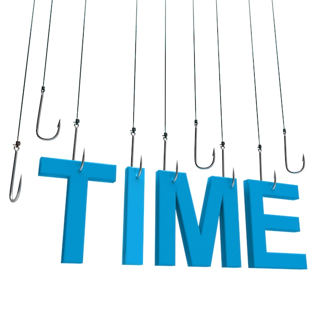 Time ,hanging text Premium Photo