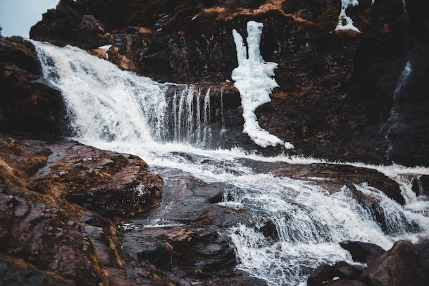Time-lapse photography of rippling multi-tier waterfalls Free Photo