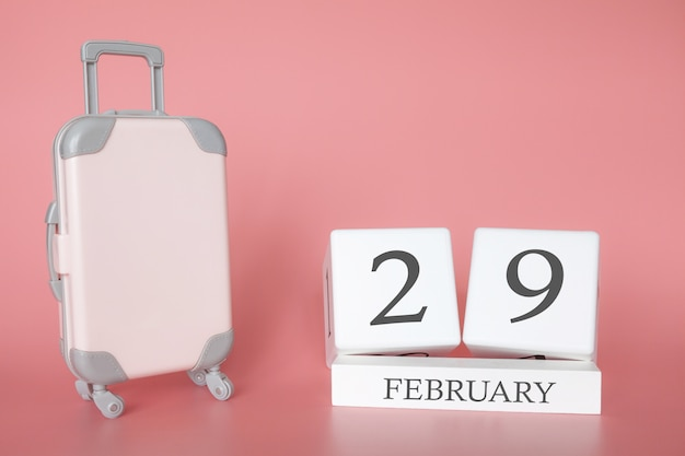 Time for a winter holiday or travel, vacation calendar for february 29 Premium Photo