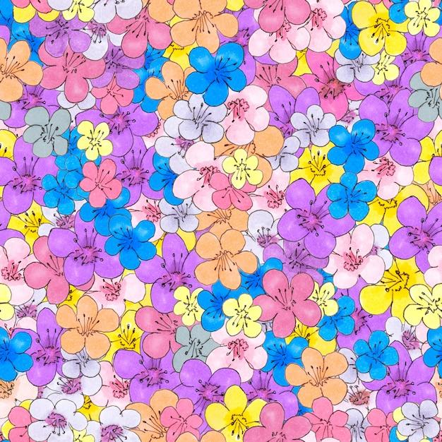小さな花のシームレスなパターン。布と包装紙のデザイン Premium写真