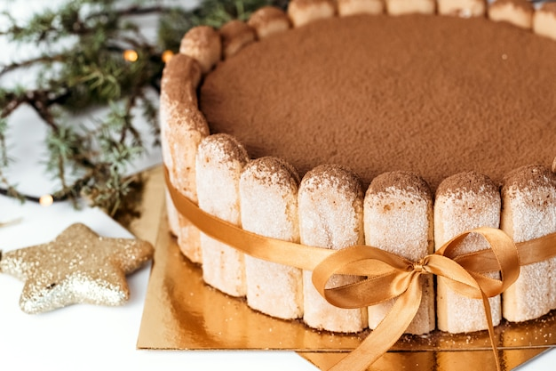 Tiramisu cake close-up. Premium Photo