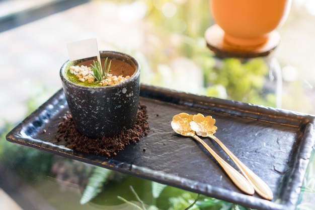 Tiramisu chiffon cake,the dessert that looks like grass and soil Premium Photo